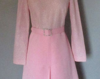 70s Light Pink Dress with Belt and Rhinestone Buckle
