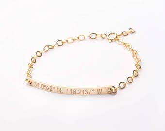Custom Adjustable Gold Bar Bracelet-Both Sides-Personalized Name/Date-Best Friend-Bridesmaids-14K Gold Filled-Rose-Silver -CG300B_40X4