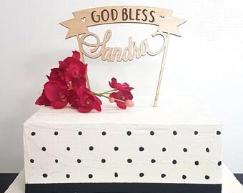 Personalized God Bless Cake Topper, God Bless Cake Topper, Baptism Cake Topper, Christening Cake Topper, Communion Cake Topper, banner