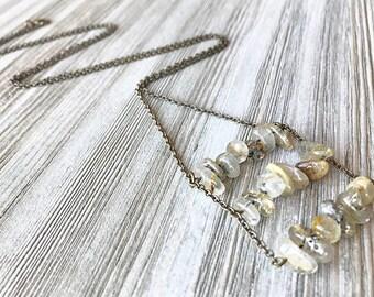 Inclusion Quartz Ladder Necklace // Long Stone Necklace // Long Quartz Necklace // Long Ladder Necklace // Unique Long Necklace // Handmade