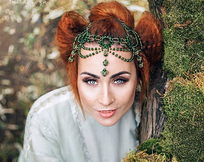 Green Head jewelry Beaded head piece Gold and Green forehead Emerald Medieval Headdress Indian Head Chain Gatsby Headband Green Necklace
