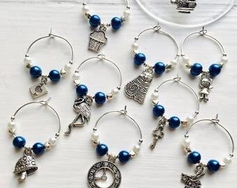 5 Handmade Alice in Wonderland Wine Glass Charms