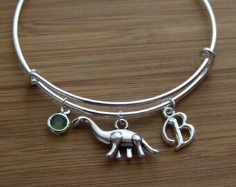 Dinosaur Bangle, Dinosaur Gifts, Dinosaur Birthday Gift, Dino Bangle Bracelet, Initial Bracelet, Personalized Bracelet, Initial Charm