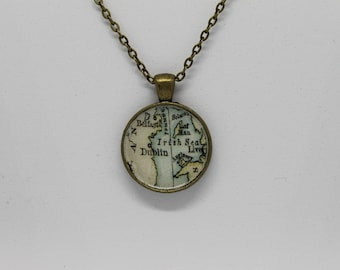 Dublin Ireland Map Pendant Bronze Necklace
