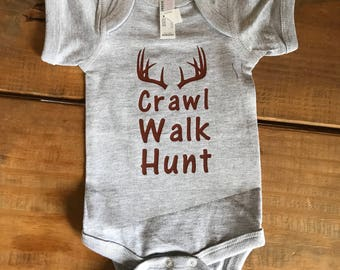 Crawl, Walk, Hunt infant clothing