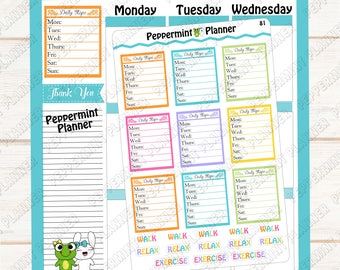 Daily Steps --- planner stickers --- tracker --- 81