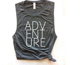 adventure workout gray muscle tank, workout tank, travel tank top, yoga tank, barre tank, running tank, beach tank, bachelorette tank