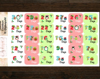 Christmas Countdown Stickers || Planner Stickers