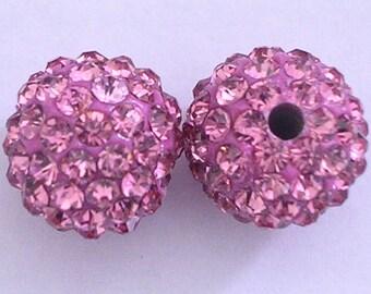 10 Rose Quality Pave Rhinestone Disco Balls 8mm 10mm 12mm Shamballa Beads