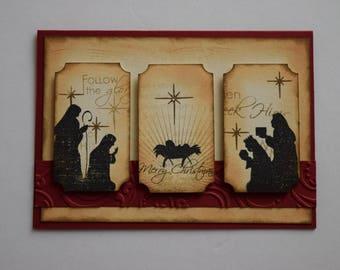 Nativity Christmas Card - Baby Jesus Card - Wisemen Card - Religious Card - O Holy Night - Mary and Joseph Card - Christian Card - Layered