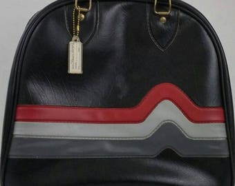 Vintage One-Ball Bowling Bag, Single, With Tag, Black Gray Red Accents, Zippered