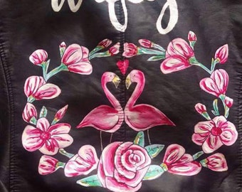 Handpainted custom faux leather personalised wedding jackets