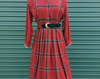 Red Gingham Vintage Fit and Flare Retro Midi Dress with Button Down Collar and Plaid Pattern with Long Sleeves and Matching Belt