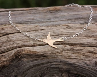 Gold and Silver Swallow Bird Bracelet, Gold Filled and sterling silver, adjustable length