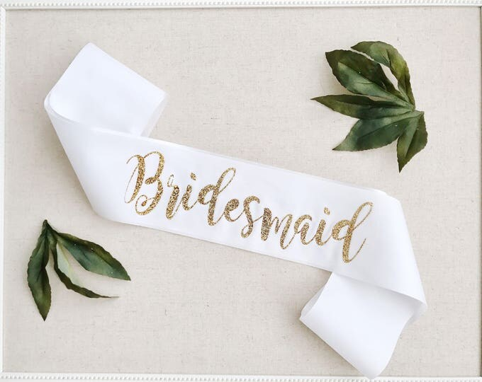 Bridesmaid Sash, glitter sash, bachelorette party sash, bridal party sash, hen party sashes, wedding party