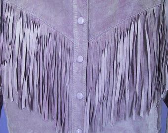 Lavender Suede Fringe Jacket