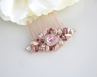 Rose gold hair comb, Wedding hair accessories, Bridal hair comb, Wedding headpiece, Swarovski hair comb, Blush crystal comb, Hair piece