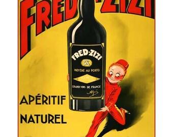 Fred Zizi Aperitif Wine Vintage Advertising Poster Art - Vintage Print Art - Home Decor - French Advertising