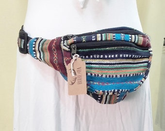 Multi-pocket Waist Bag for Festivals, Camping, Travelling, Parties, Weekend Trips. Tibetan Stripe Quality Cotton Canvas Fabric Fanny Pack