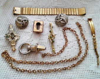 Shabby Golden tone Odds ends instant collection Destash Trinkets lot Mixed Random Assortment Craft Reuse Found objects chain brooch buttons