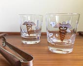Vintage Medical-Themed Rocks/Lowball Glasses with Gold Accents, Pair of 2 — Caduceus, Stethoscope, Microscope, and Other Medical Tools