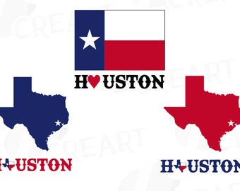 Houston clip art pack including Texas map AI, eps, svg, png, silhouette studio and pdf files included, instant download, vector file