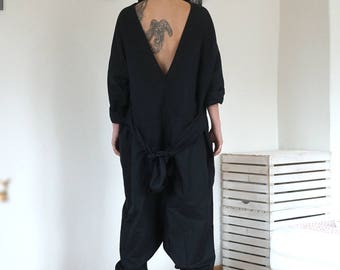 Linen Black Oversized Overall, Baggy Open Back Jumpsuit, Drop Crotch Extravagant Jumper, Clubwear, Loose Maxi Harem Overall