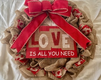 "Beautiful 22"" Valentine's Day Burlap Wreath"