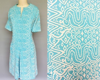emboldened / 1960s mod dress in bold print / 16 18 large xl