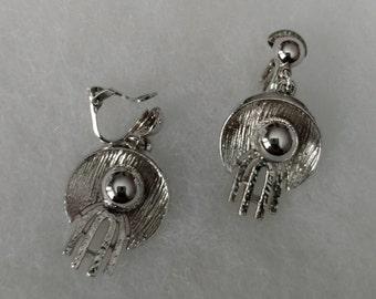Vintage Coro Silver Clip on Dangle Earrings
