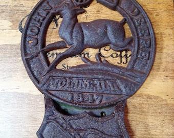 Vintage John Deere Cast Iron Pocket Plaque Moline, ILL, 1847