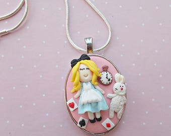 Alice In Wonderland Necklace, Handmade Necklace, Wonderland Pendant, Fairytale Wonderland Jewelry, White Rabbit , Alice Fimo Jewelry