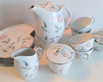 Vintage Noritake China set 287 - Coffee Snack Plates Cups Creamer Coffee pot - Floral Flower- 15 Piece