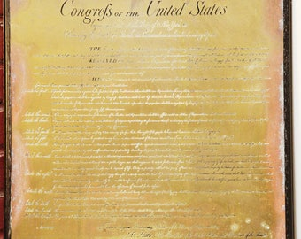 FREE SHIPPING In Congress July 4th The Unanimous Declaration of The 13 Unites States of America/Congrefs United States / Brass Wall Posters