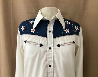 Vintage H Bar C Embroidered Western Shirt Lg