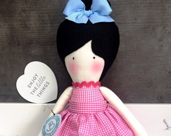 Hand made Rag Doll pink country outfit by Bella Girl Design