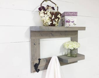 Wooden Bathroom Shelf, Rustic Bathroom Shelf, Wooden Towel Rack, Bathroom  Towel Rack,