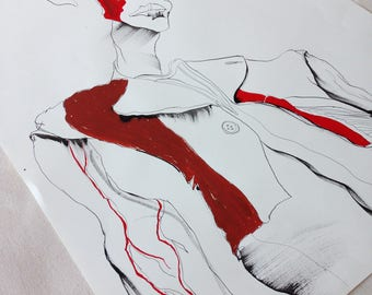 Rick Owens SS18 Mens Fashion Illustration