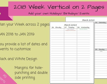 CUSTOMIZED 2018 - Dated Weekly on 2 Pages Printable Planner, Vertical Layout, Half Sheet, A5, kikki.K, Filofax inserts