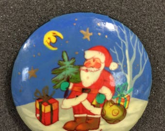 Vintage hand painted Santa with Christmas tree pin hand made in Russia