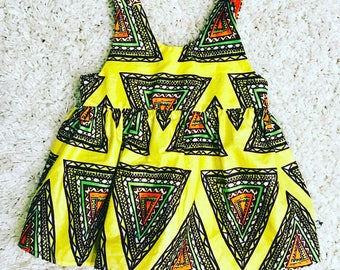 Yellow and Orange.African Print dress.Baby girl African Print