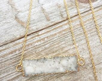 White Druzy Bar Necklace, Druzy Necklace, Drusy Necklace, Crystal Necklace, Gold Edged Druzy Pendant, White Crystal Necklace