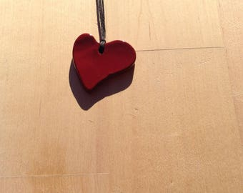 ceramic Red Heart Necklace