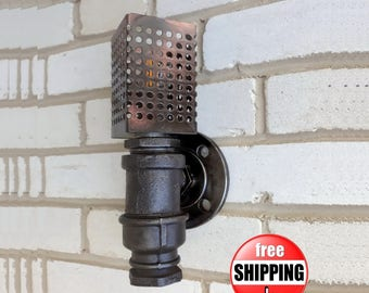 Sconce industrial wall lighting sconce lights wall sconces metal sconce pipe sconce  vintage sconces plumbing pipe steampunk wall lamp loft