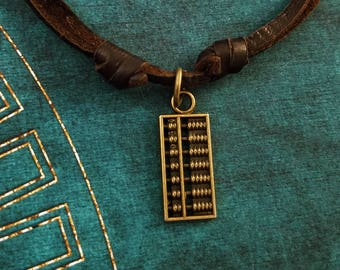 Abacus Necklace Math Jewelry Math Teacher Gift Accountant Gift Abacus Charm Brown Leather Necklace Cord Men's Jewelry Boyfriend Necklace