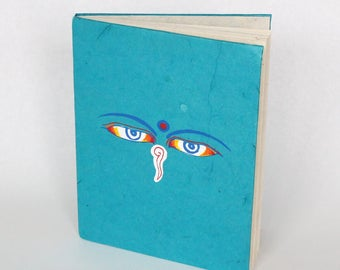 Eco-Friendly Handmade Lokta Bark Paper Journal | Blue Buddha Wisdom Eyes Natural Notebook | Sustainable Hard Cover Diary Nepal | Fair Trade