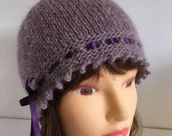 Lavender Vintage Hat Lambswool, 1920s Style Gatsby Knitted, Mothers Day Gift Hat, Ribbon Tied Fancy Hat Mauve, Hand Knit Wool Present