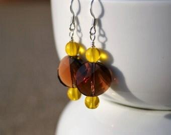Swarovski Beaded Earrings, Brown Crystal Earrings, Swarovski Crystal Earrings, Brown Beaded Earrings, Silver Earrings, Brown Yellow Earrings