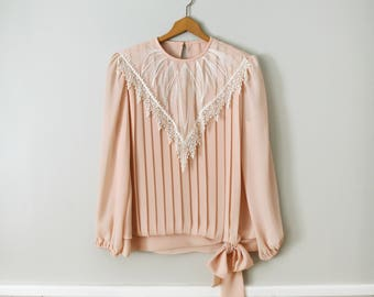 Vintage Blush Pink Lace Collar Pleated Blouse with Side Bow Detail by Roxanne - Made in USA