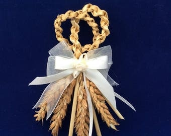Corsage - buttonhole - boutonniere - wedding - rustic - corn dolly